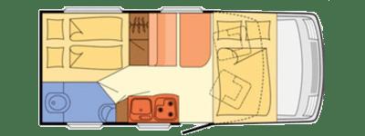 plano esquema de autocaravana de alquiler